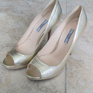 Gold Prada peeptoe heels 9